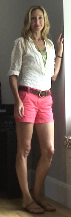 Relaxed white cotton shirt and pop-of-color shorts!