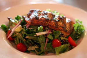 Garden Salad Topped With Grilled Salmon