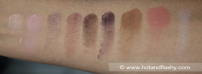 Swatches of the 6 Eyeshadows, Bronzer, Blush, & Highlight from the Pull-Out Palette